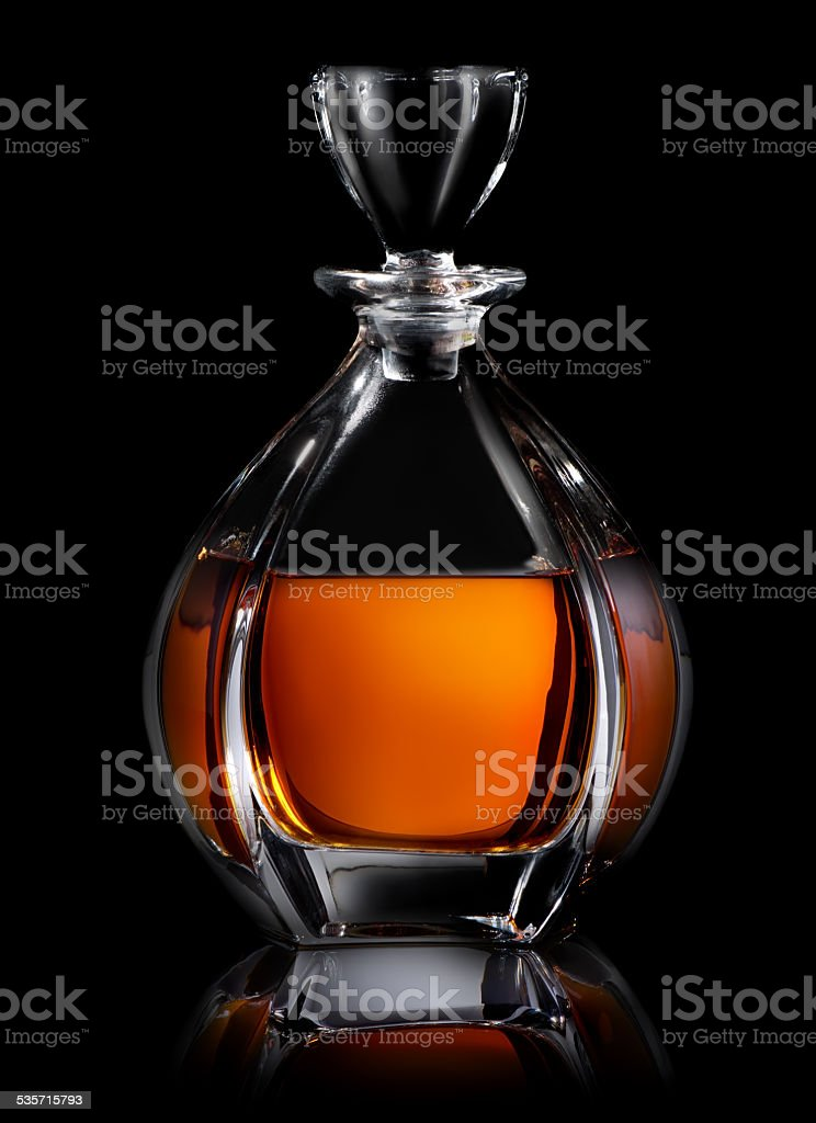 Decanter on black stock photo