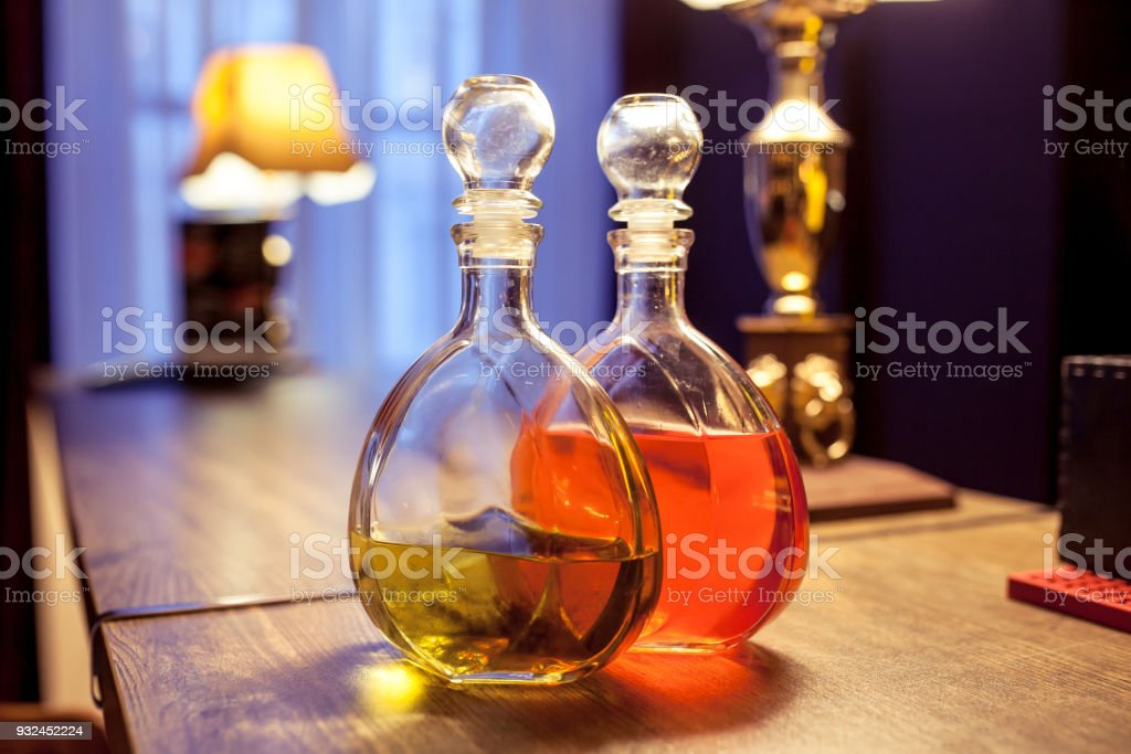decanter with liquior in a bar stock photo