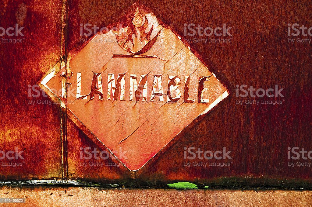 Decayed Metal - Flammable royalty-free stock photo