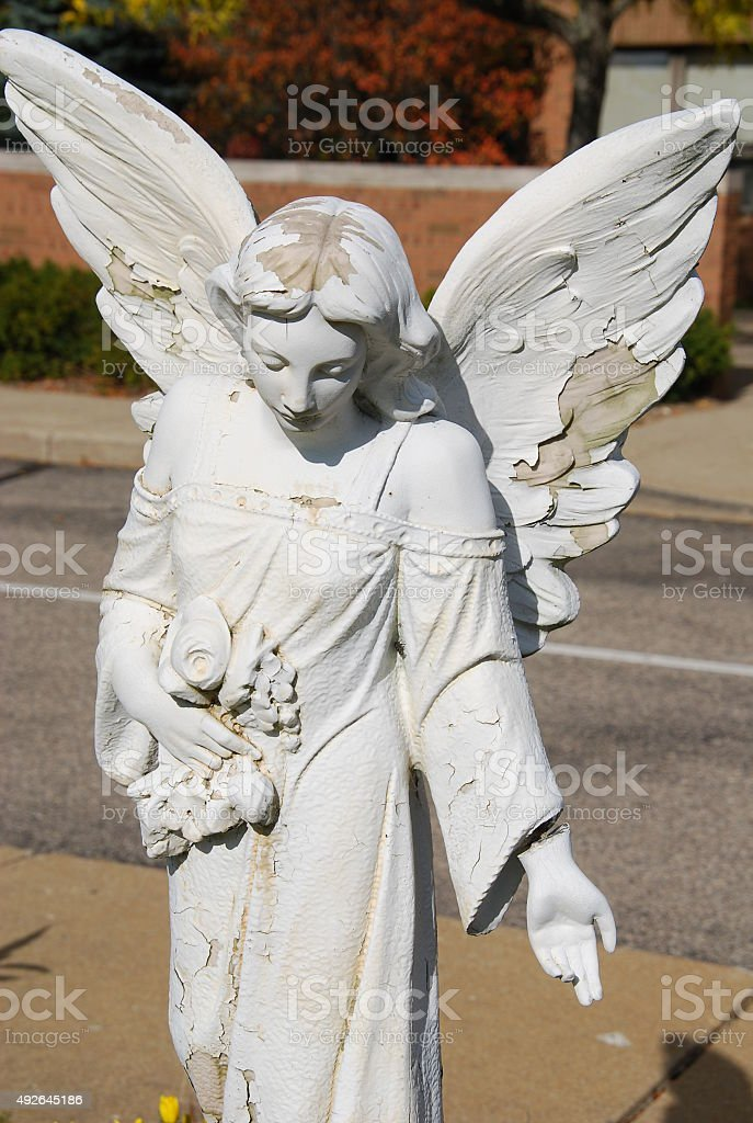 Decaying Angel Statue stock photo
