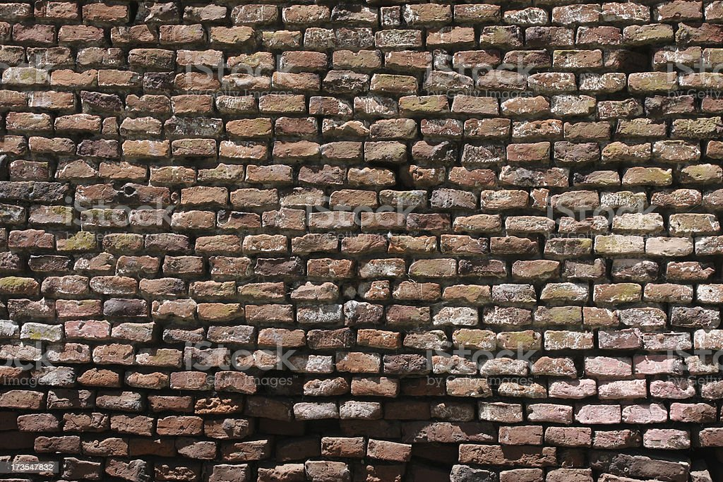 Decaying Brick Wall Background stock photo