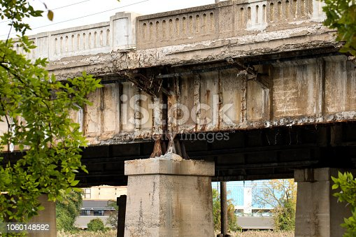 Deteriorating Highway Bridge, crumbling and dangerous. Image shot with Canon 5D Mark 4, 24-105mm f/4L IS USM lens.