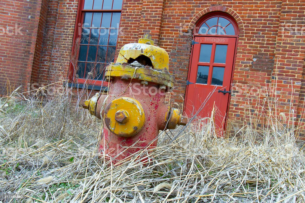 Decaying fire hydrant in weeds stock photo