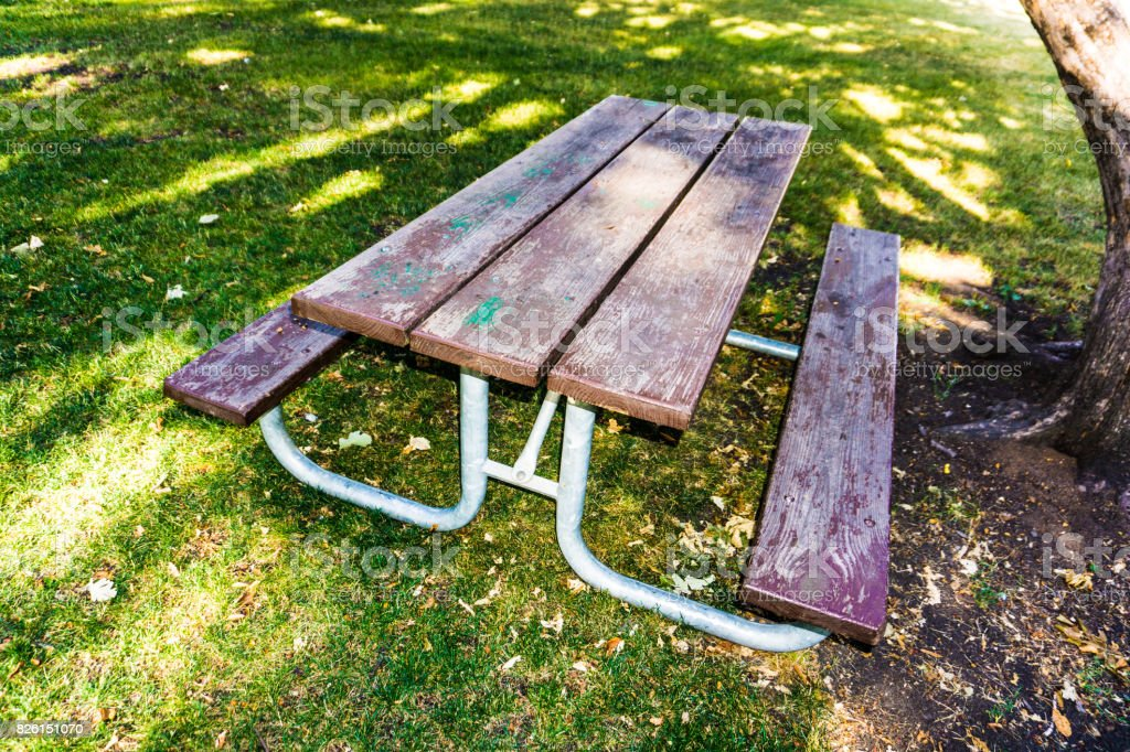 Decaying Picnic Table stock photo