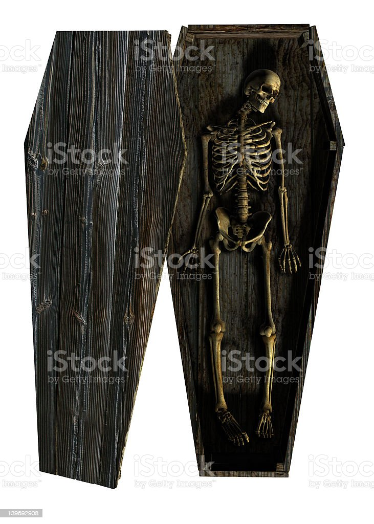 Decaying Skeleton in Coffin - includes clipping path royalty-free stock photo