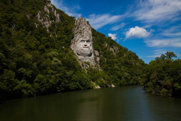 Decebal statue, orsova, cazanele dunarii, Romania stock photo