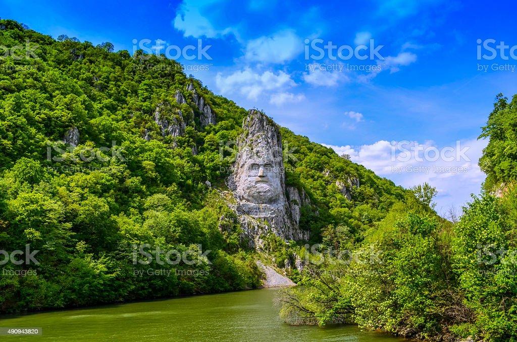 Decebalus on the Danube stock photo