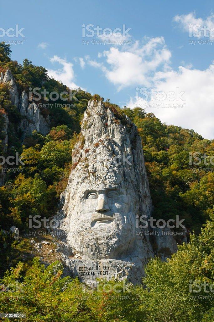 Decebalus rock sculpture stock photo