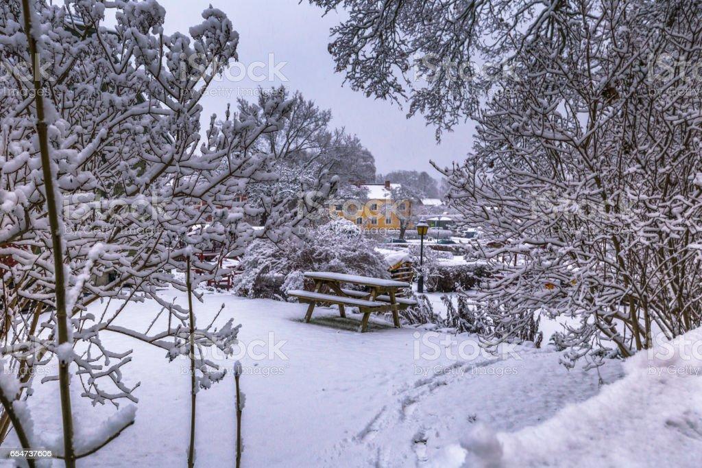 10 Dezember 2016 Gefroren In Der Alten Stadt Sigtuna Garten Im