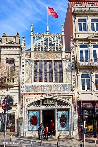 Exterior view ( building facade ) library bookstore Livraria Lello in historic center of Porto, famous for Harry Potter film.