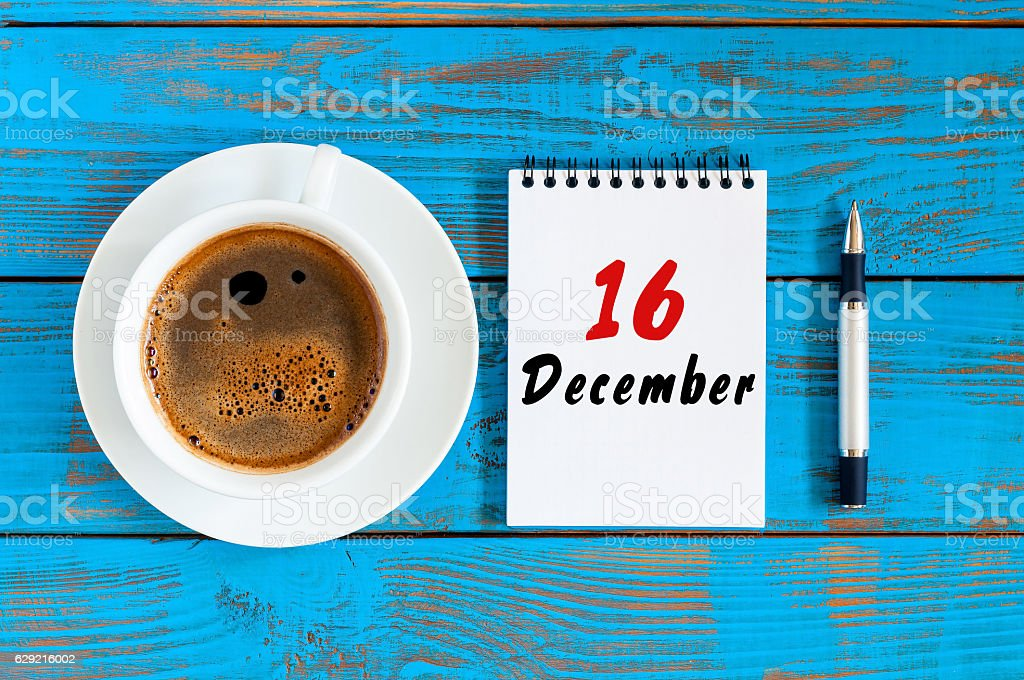 December 16th. Day 16 of month, loose-leaf calendar on stock photo