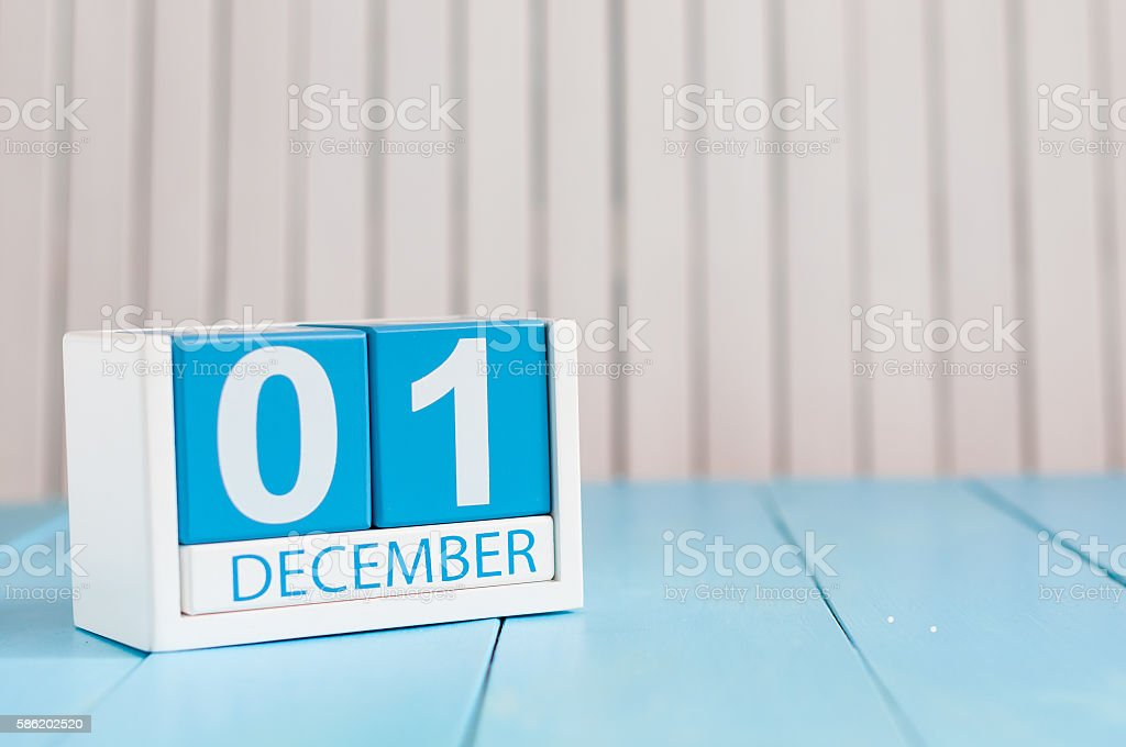 December 1st. Day 1 of month, calendar on wooden background stock photo
