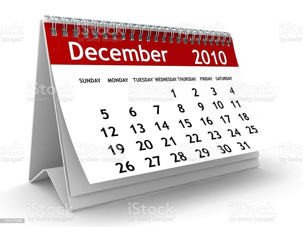 December 2010 - Calendar series stock photo