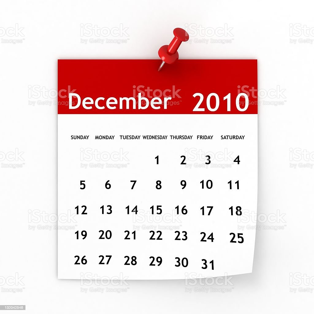 December 2010 - Calendar series royalty-free stock photo