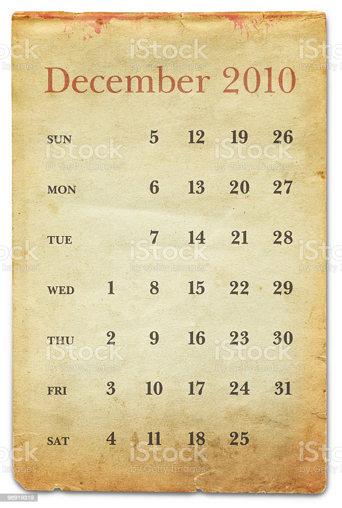 December 2010 - Old Paper Calendar royalty-free stock photo