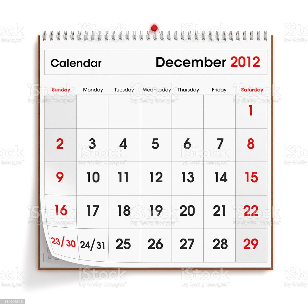 December 2012 Wall Calendar royalty-free stock photo