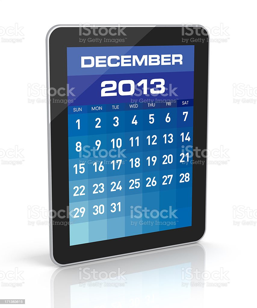 December 2013 - Tablet Calendar royalty-free stock photo