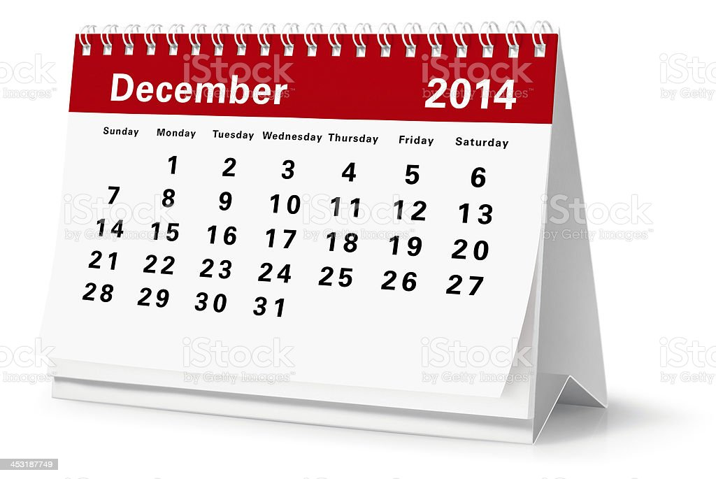 December - 2014 Desktop Calendar (Clipping Path) royalty-free stock photo