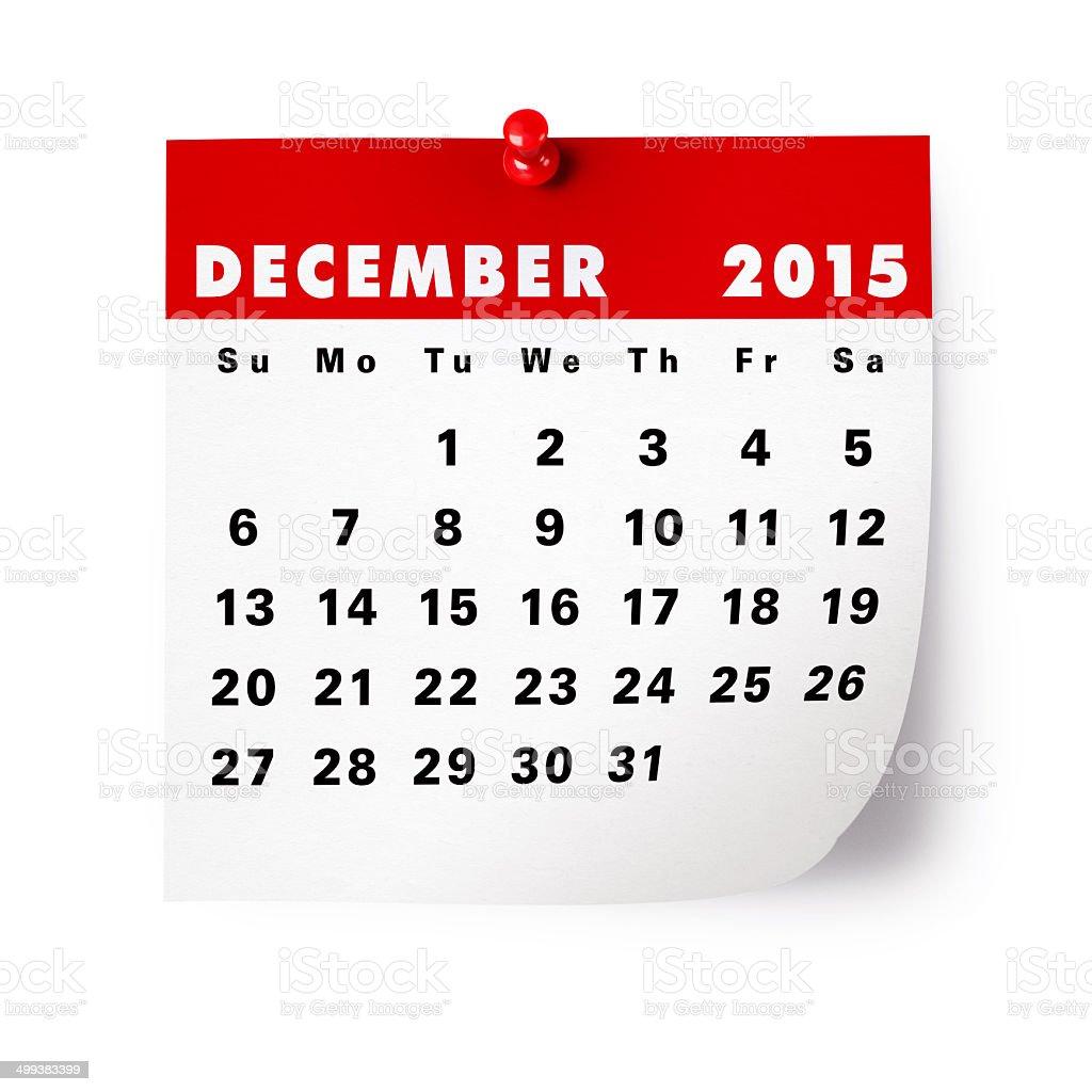 December 2015 Calendar royalty-free stock photo