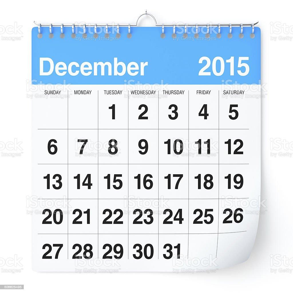 December 2015 - Calendar stock photo