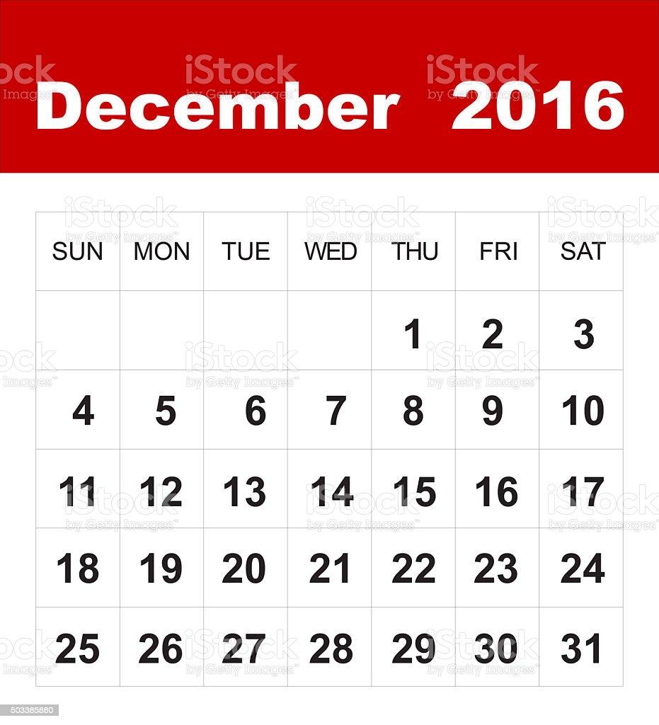 December 2016 calendar stock photo
