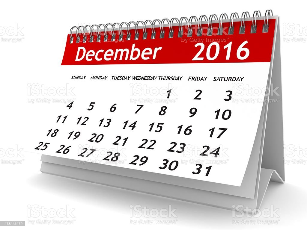 December 2016 - Calendar series stock photo