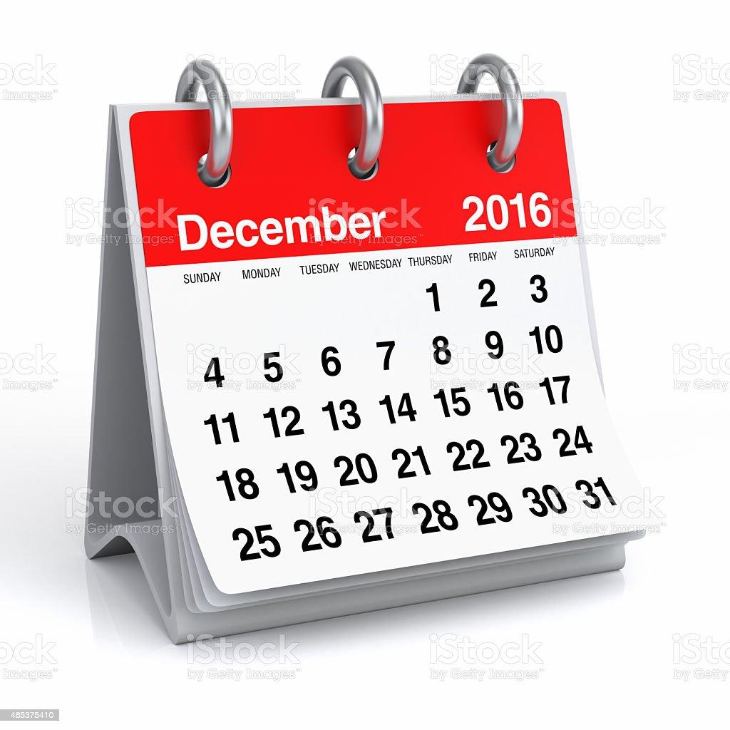 December 2016 - Desktop Spiral Calendar stock photo