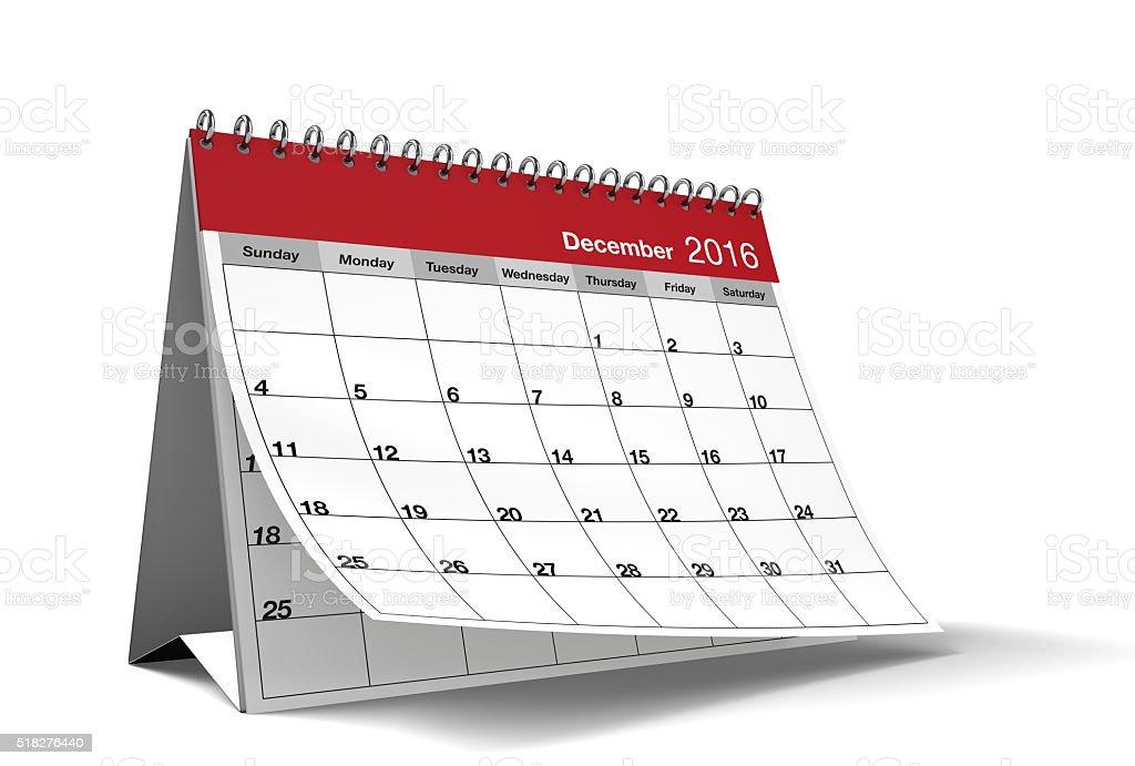December 2016 Red Desktop Calendar on Isolated White Background stock photo