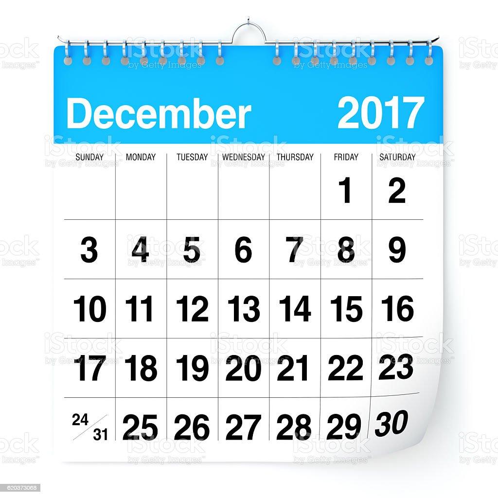 Kalendarz - grudnia 2017 r. zbiór zdjęć royalty-free