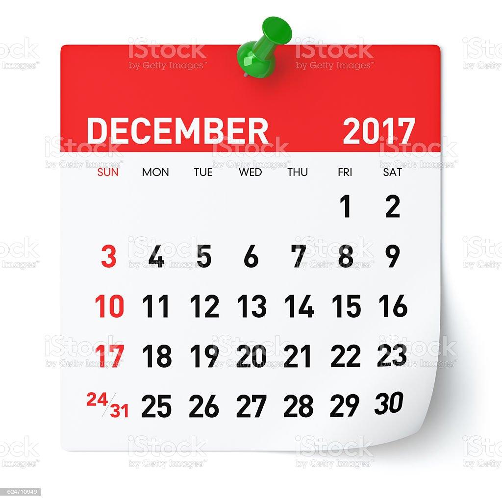 December 2017 - Calendar stock photo