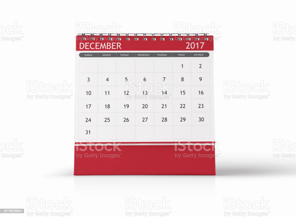 December 2017 Desktop Calendar on White Background stock photo