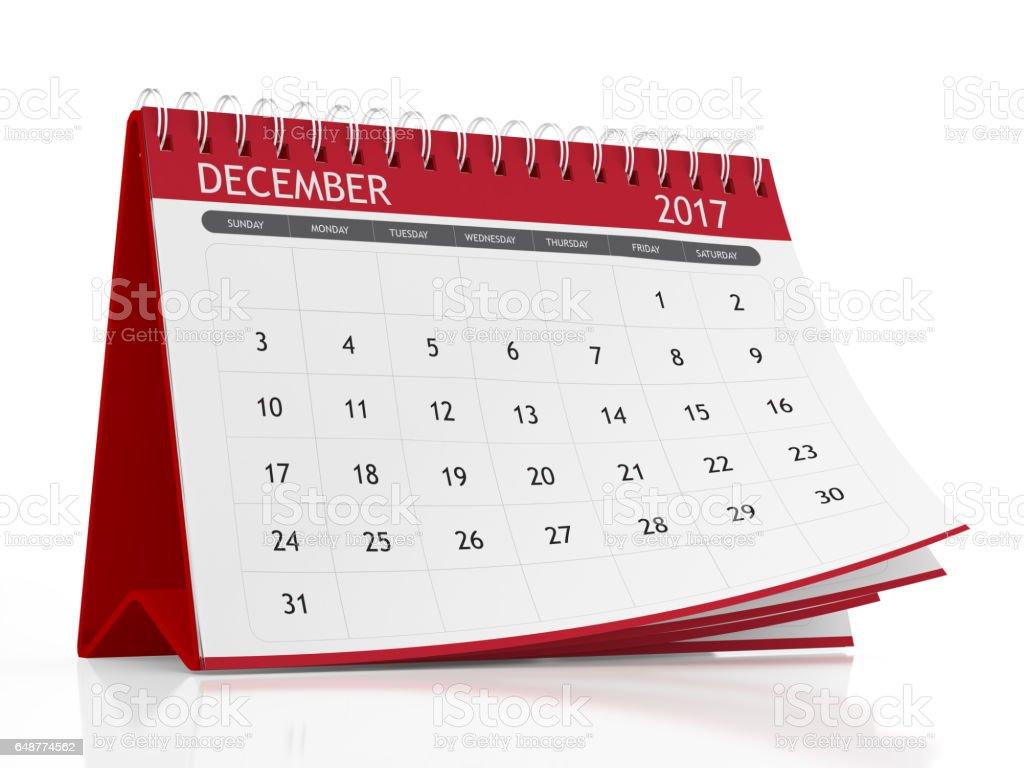 December 2017 Desktop Calendar With Red Plastic On White ...