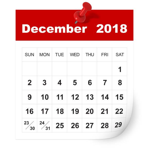 December 2018 calendar stock photo