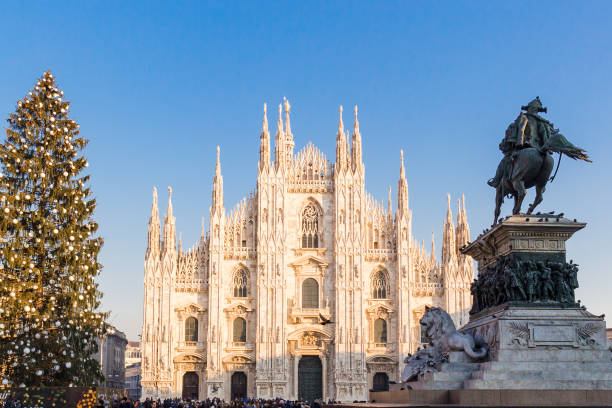 20 December 2018. Milan square Duomo at Chirstmas Time. stock photo