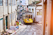 Wooden historical vintage yellow street tram 28 moving through Lisbon, symbol of city. Indispensable transport for locals and interesting attraction for tourists