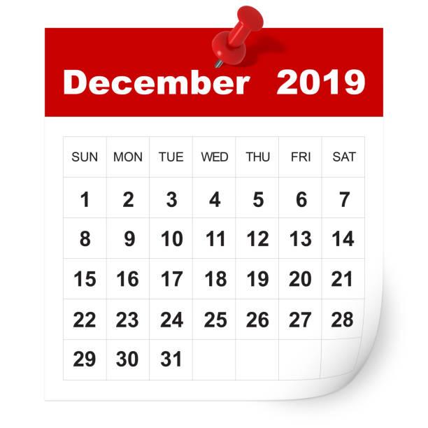 december 2019 kalender - december stockfoto's en -beelden