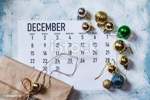 istock December 2019 monthly Calendar 1168464913