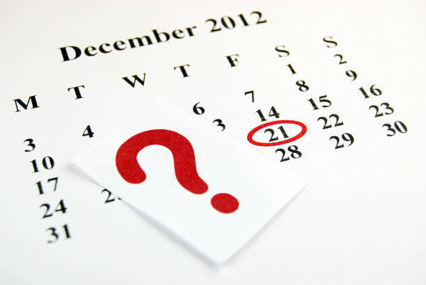 December 21 December 21 - Encircled in red. A question mark cutting. Depth of field. 2012 stock pictures, royalty-free photos & images