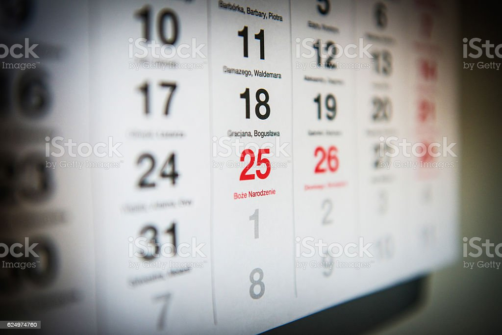 December 25 in the calendar stock photo