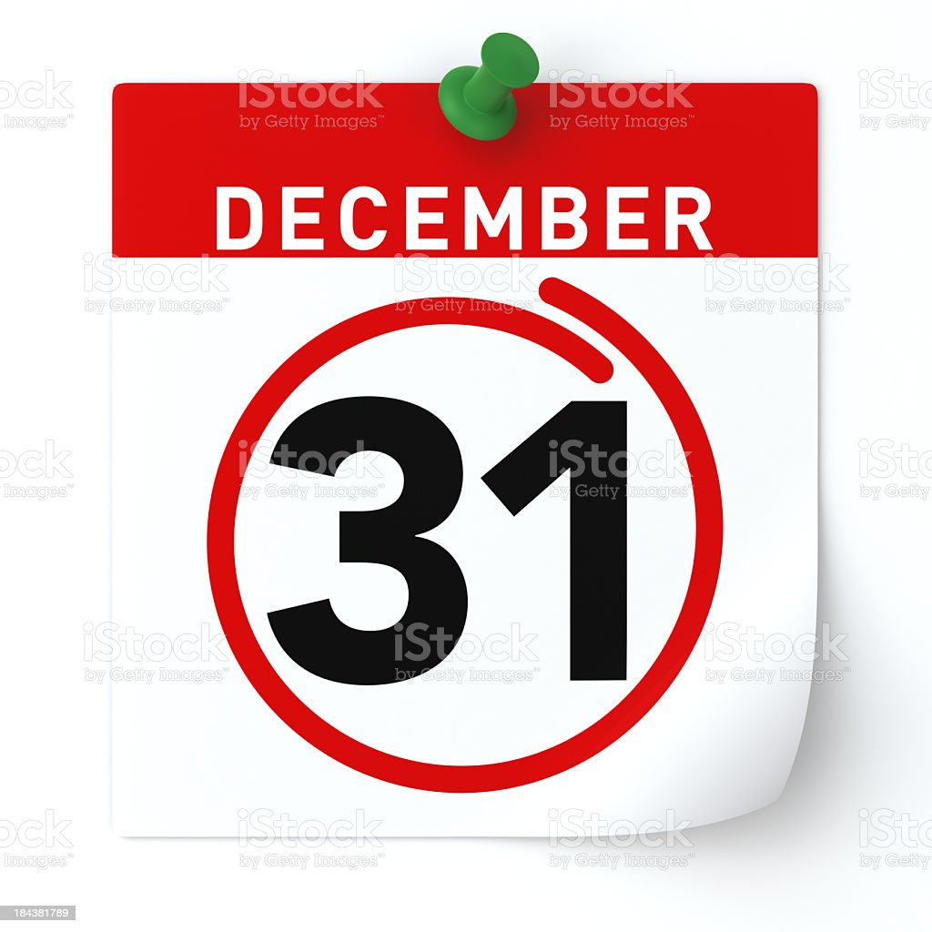 December 31 circled in red on calendar stock photo