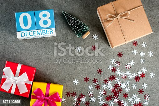 968874704 istock photo December 8th. Image 8 day of december month, calendar at christmas and new year background with gifts 877140856
