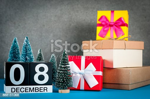 968874704 istock photo December 8th. Image 8 day of december month, calendar at christmas and new year background with gifts and little Christmas tree 888151068