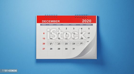 2020 December calendar on blue background. Horizontal composition with copy space. Calendar and reminder concept.