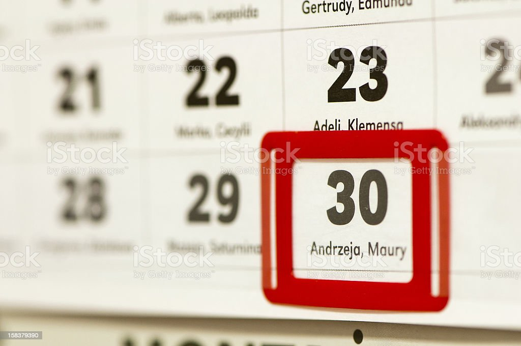 30 december marked on the calendar royalty-free stock photo