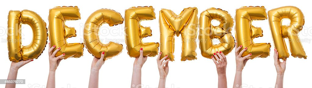 december word made from gold balloons stock photo more pictures of