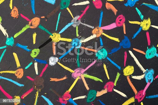 istock Decentralize, bond or social network concept, macro view of colorful pastel link and connect chalk line between multiple dot or peers on blackboard 997320224