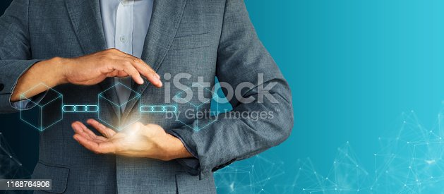 889994504istockphoto Decentralize Businessman future innovation blockchain technology concept token money bank bitcoin. Safe trust fintech efficiency clouds security crypto digital ai smart contract transaction protection 1168764906