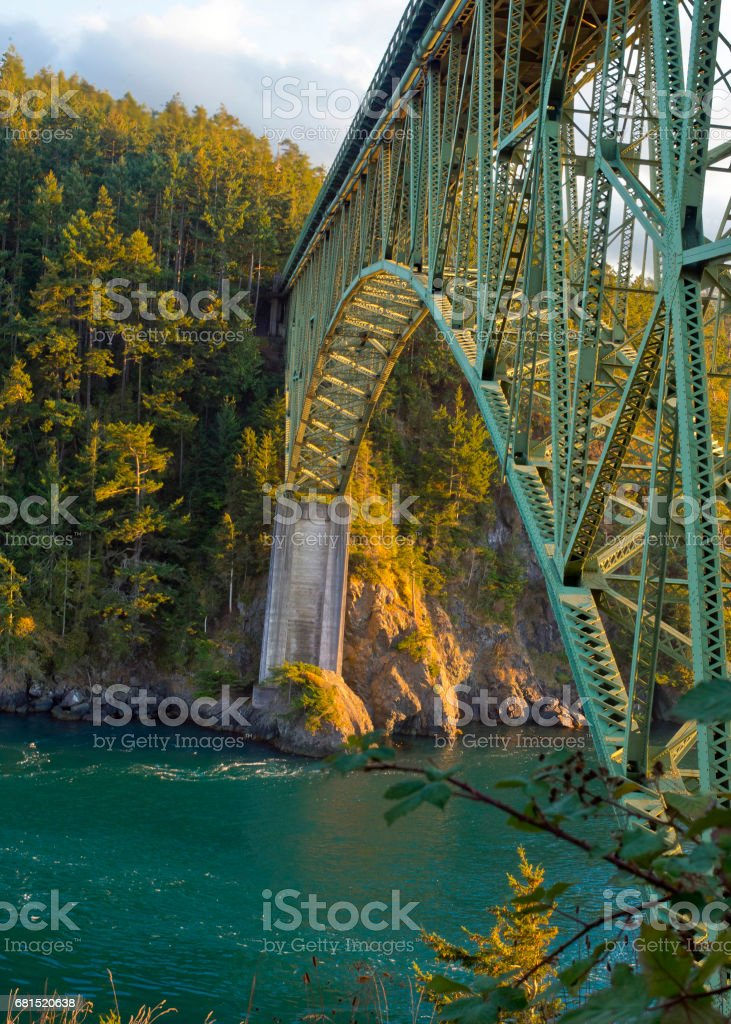 Beautiful Deception Pass Bridge in Oak Harbor WA. Emerald green...