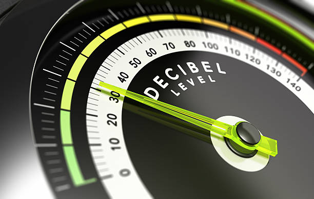 Decibel level, dB Decibel measurement. Gauge with green needle pointing 30 dB, concept of noise reduction meter instrument of measurement stock pictures, royalty-free photos & images