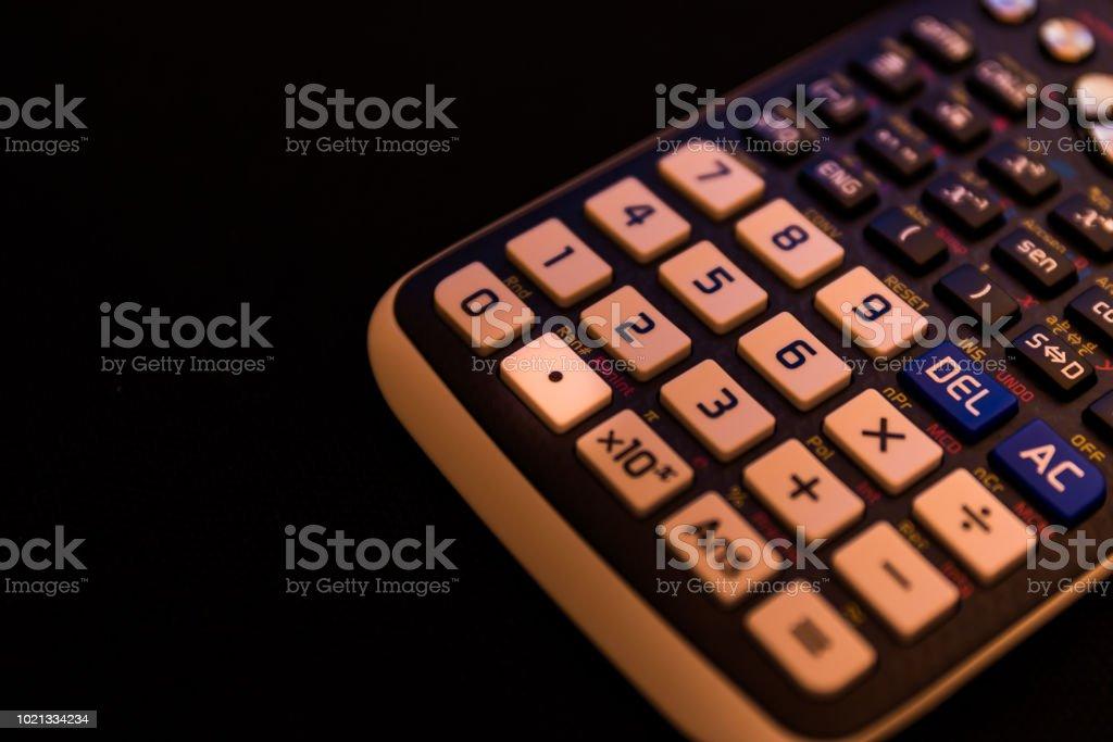 Decimal point key of a scientific calculator stock photo